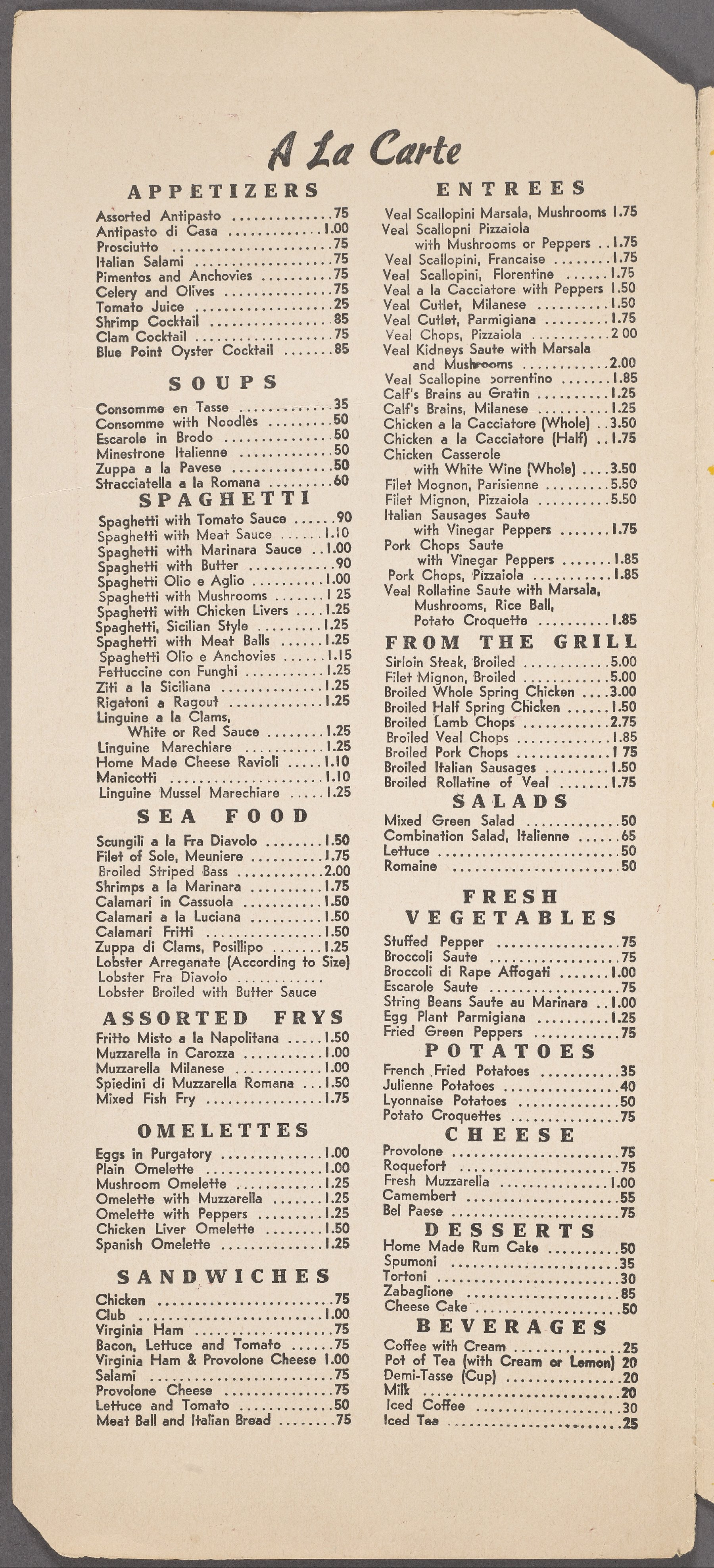 parmigiana? - We searched old menus for listings of chicken parmesan or parmigiana prior to the 1960's but we could not find any. What we found is plenty of veal and eggplant parmigiana.