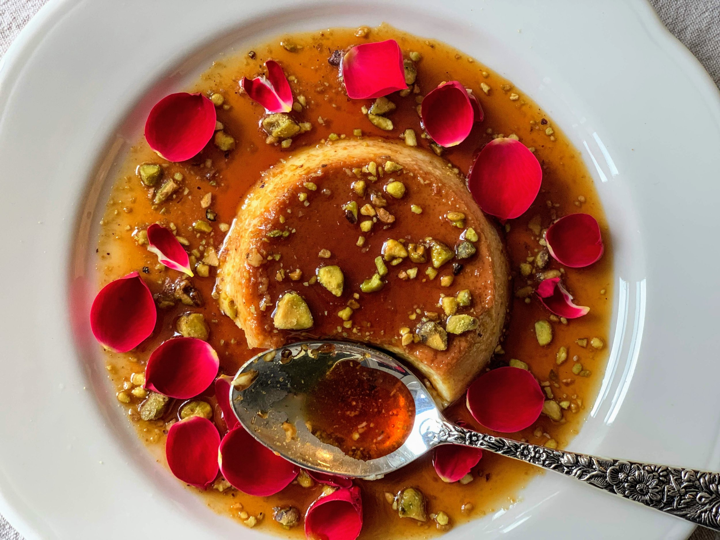 Rose and pistachio flan