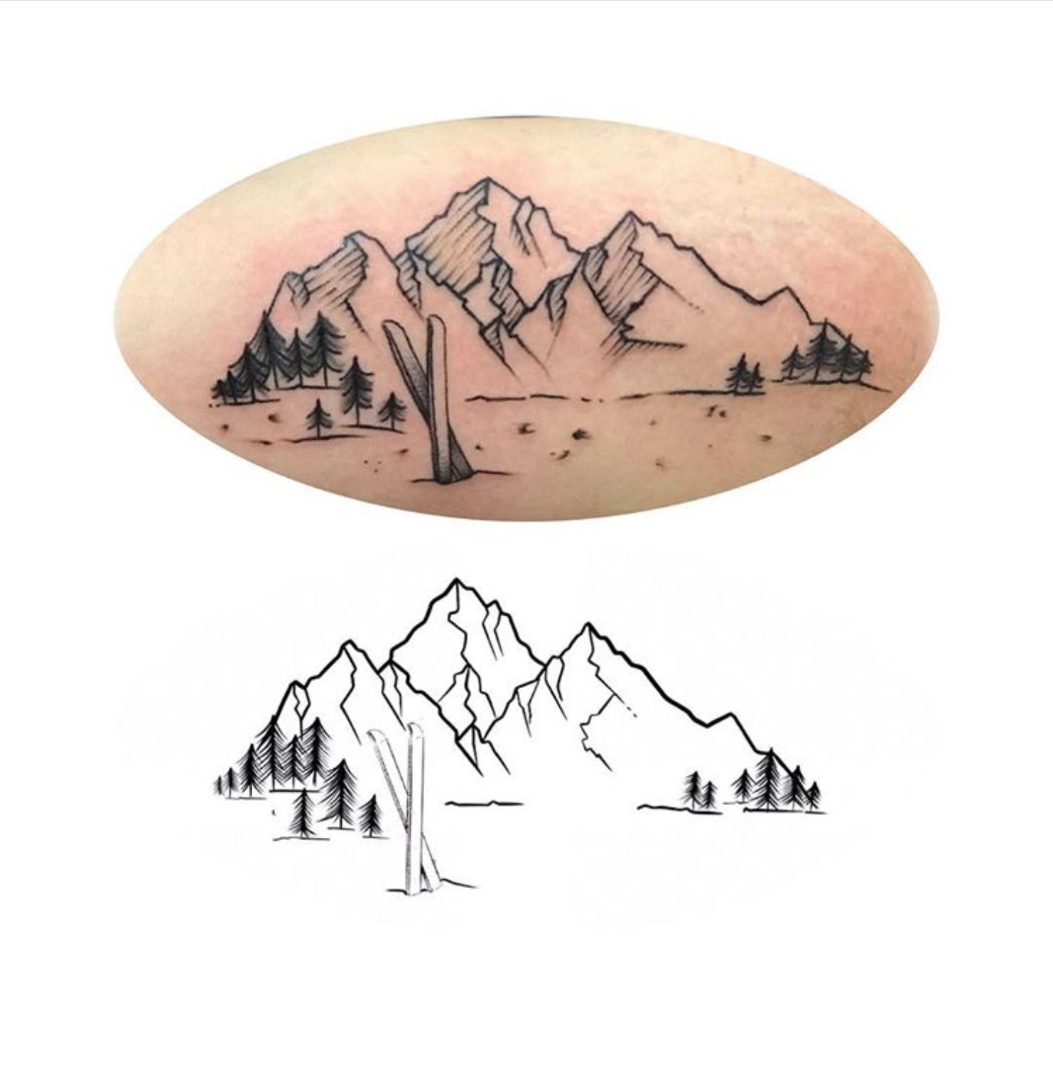 Mountain Sketch / Tattoo by Rosa Pérez