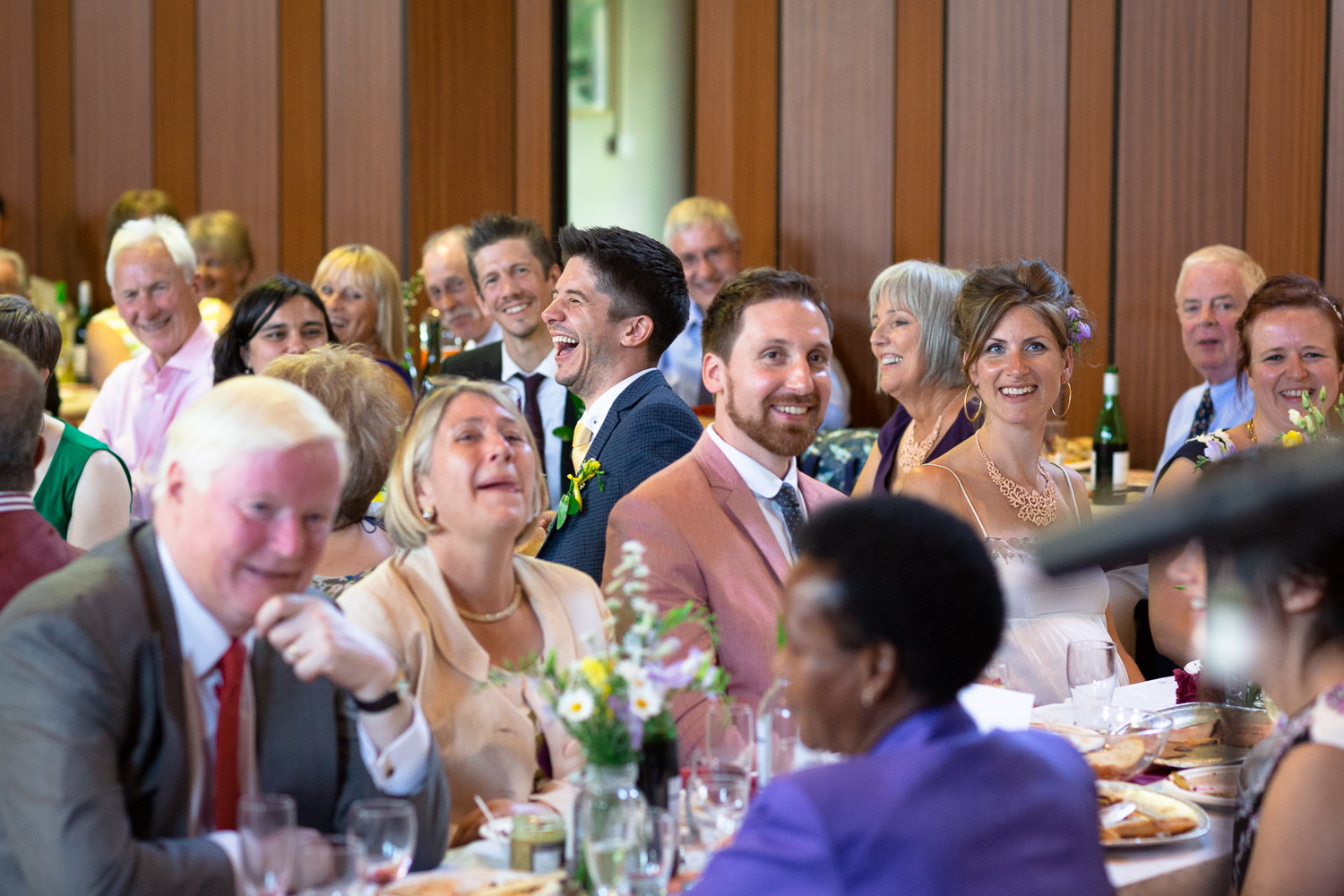 Wedding emotions laughter groom during speeches
