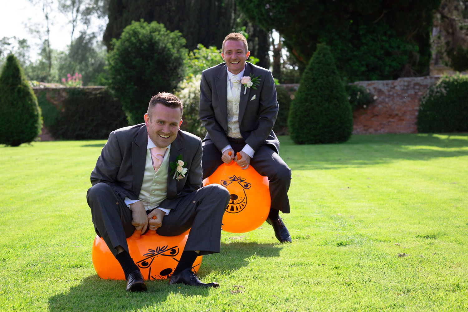 Wedding emotions laughter fun and games on bouncy hoppers