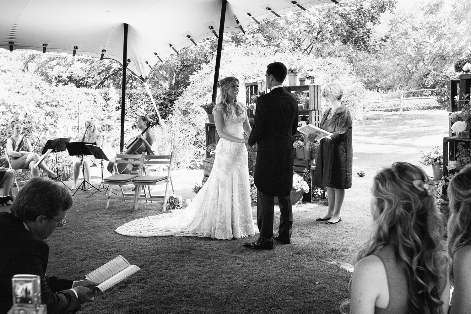 Wedding photography portfolio humanist ceremony marquee black and white