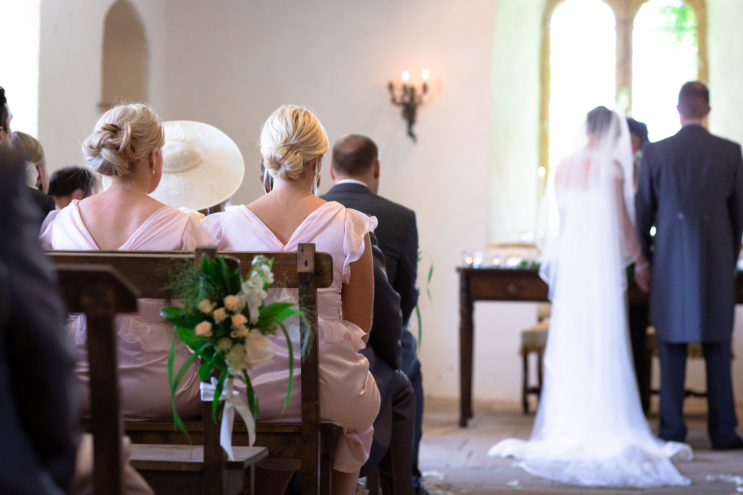 Wedding photography portfolio bridesmaids watching marriage vows