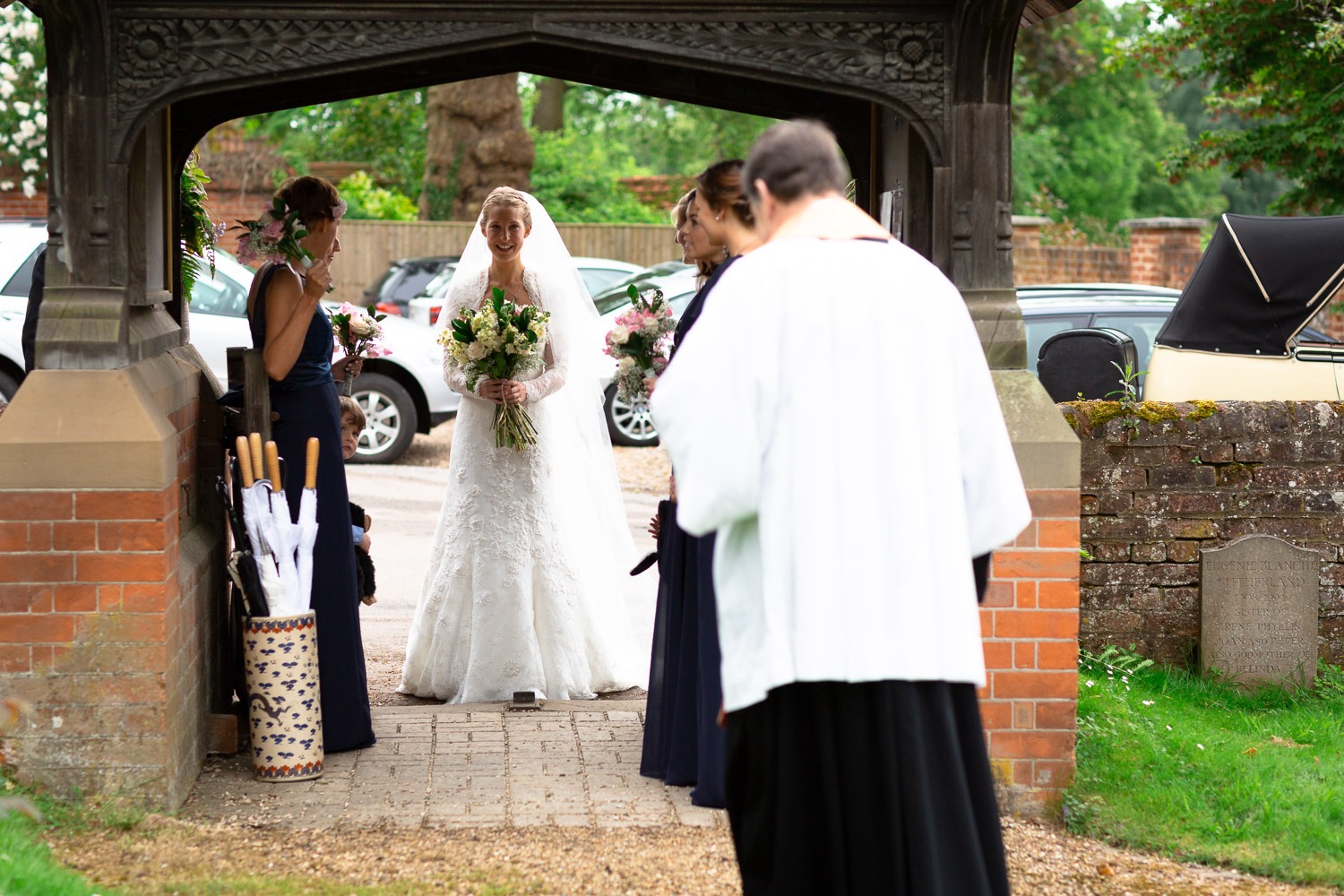 Wedding photography portfolio bridal party arriving at church