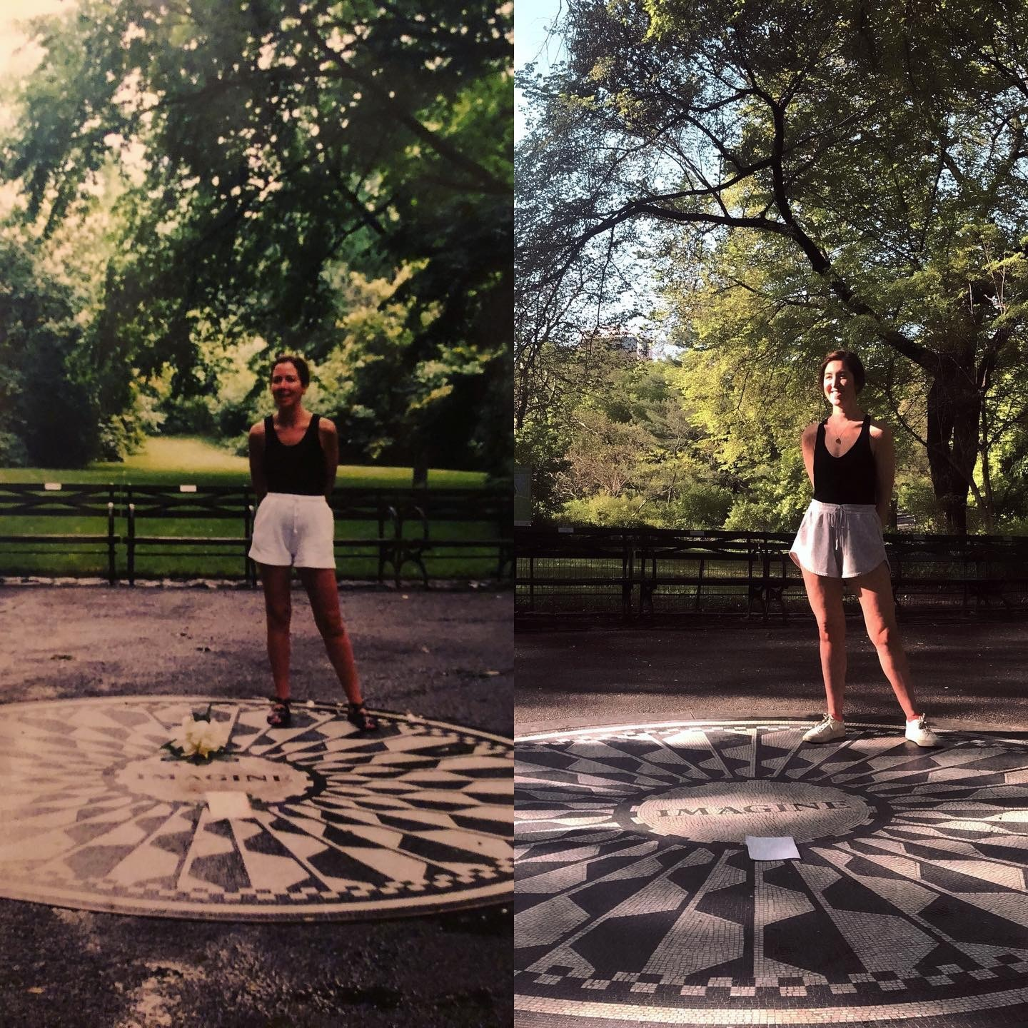 MomThenMeNow co-founder Cassie Levine recreated a photograph 30 years after her mom struck this pose at the Imagine Circle in the Strawberry Fields Memorial of Central Park.