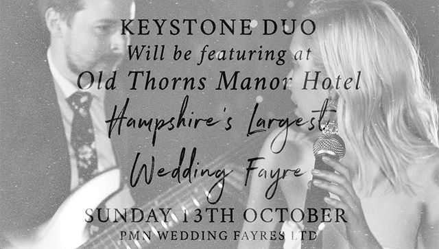 Calling all fiancés💍// You can catch us performing live @oldthornshotel for Hampshire's largest Wedding Fayre on October 13 from 11am - 3pm 💙 Go to @pmnwed for details on tickets 🥰 _______________________ #pmnweddingfayre #uk #wedding #entertainment #livemusic #musicduo #musicans #eventplanning #weddingmusic #hampshire #ukwedding #soulful #electroacoustic #singer #bassplayer #weddingfairs #entertainers #easyweddingsuk #weddinginspiration #getmarried #fiance #ukweddingvenue