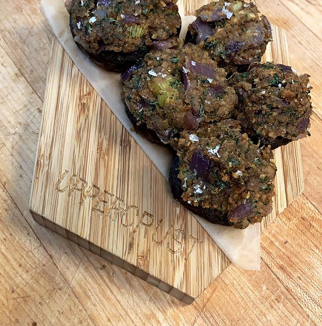 New Small Plate of The Week! Stuffed Mushrooms! Vegan & GF. . . . . #stuffedmushrooms #glutenfree #okurrr #billswin #gobills #vegan #yum