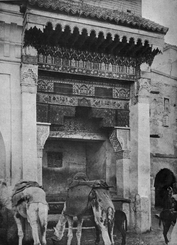 Marcelin Flandrin Mouassine Fountain, 16th century buildin, photgraph taken circa 1920.