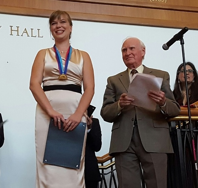 Alexa Raine-Wright   , winner of the 2016 Devona and Amos Gerber Prize, with    Stanley Ritchie   , recipient of Early Music America's Howard Mayer Brown Award for Lifetime Achievement in Early Music.