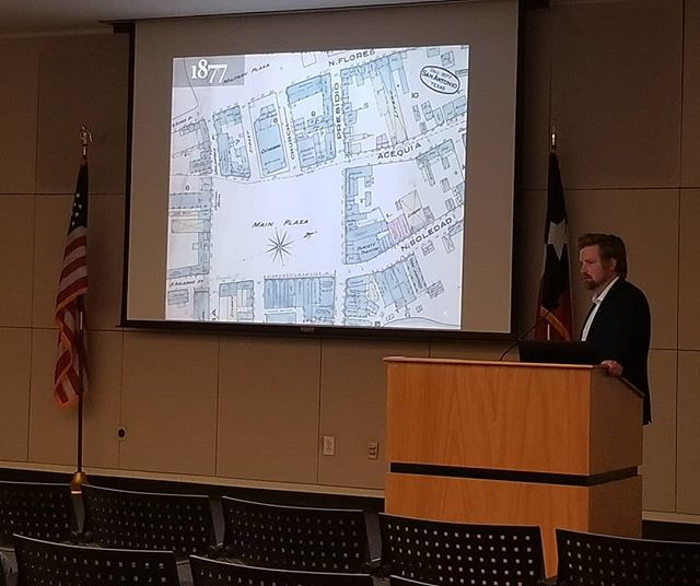 HAPPENING NOW! Newly-minted city archaeologist Matthew Elverson presents Archaeology in San Antonio ⚒ Couldn't make it in person? Watch his talk on Facebook live! #preservationmonth #sapreservation