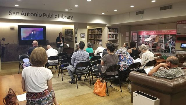 Tonight's #PreservationMonth event: San Antonians gathered in the Kampmann Room @briscoemuseum to learn how to research their historic homes from ScoutSA program coordinator jenny hay and SAPL's Sylvia Reyna. #sapreservation #scoutsa