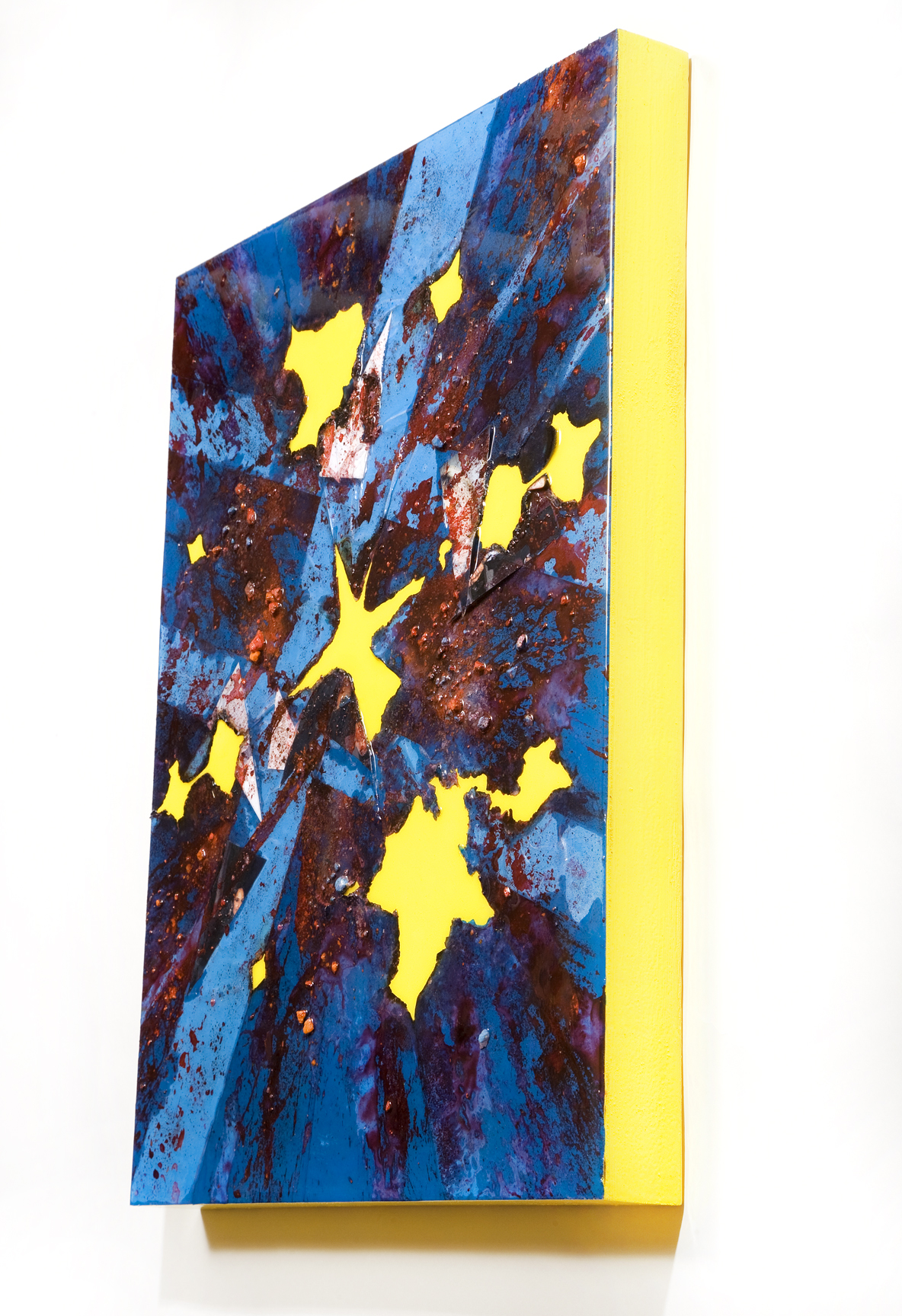 """SERIE I, Untitled SIDE VIEW (blue/yellow), photographs, photo background paper, chalk, spray paint, packing tape, powder drink, glue, epoxy resin on wood panel, 16""""x20""""x2"""", 2019"""