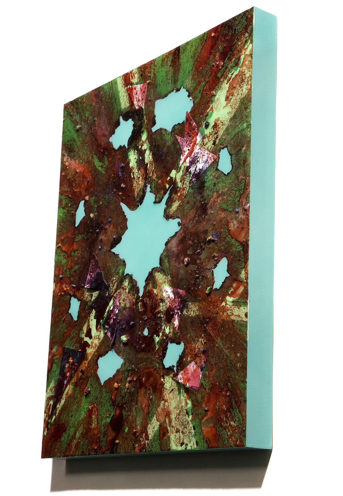"""SERIE I, Untitled SIDE VIEW (green/malachite), photographs, photo background paper, chalk, spray paint, packing tape, powder drink, glue, epoxy resin on wood panel, 16""""x20""""x2"""", 2019"""