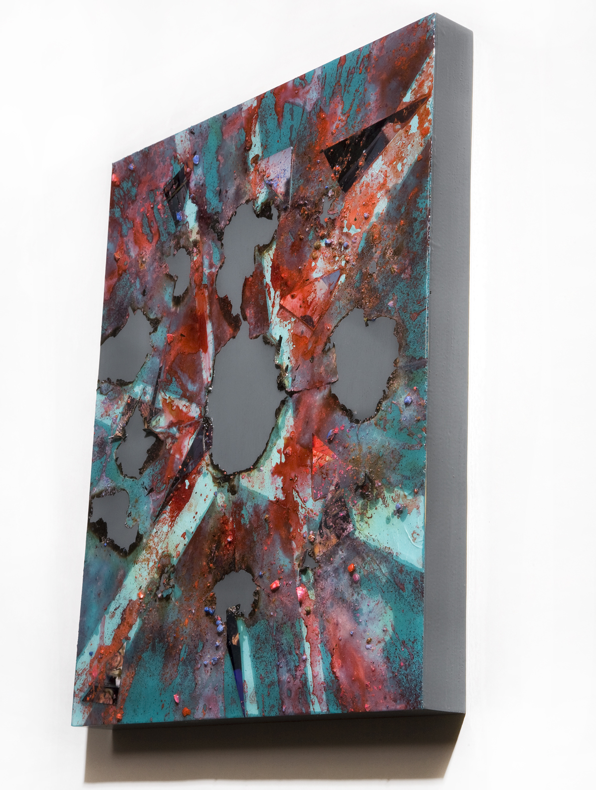 """SERIE I, Untitled SIDE VIEW (teal/grey), photographs, photo background paper, chalk, spray paint, packing tape, powder drink, glue, epoxy resin on wood panel, 16""""x20""""x2"""", 2019"""