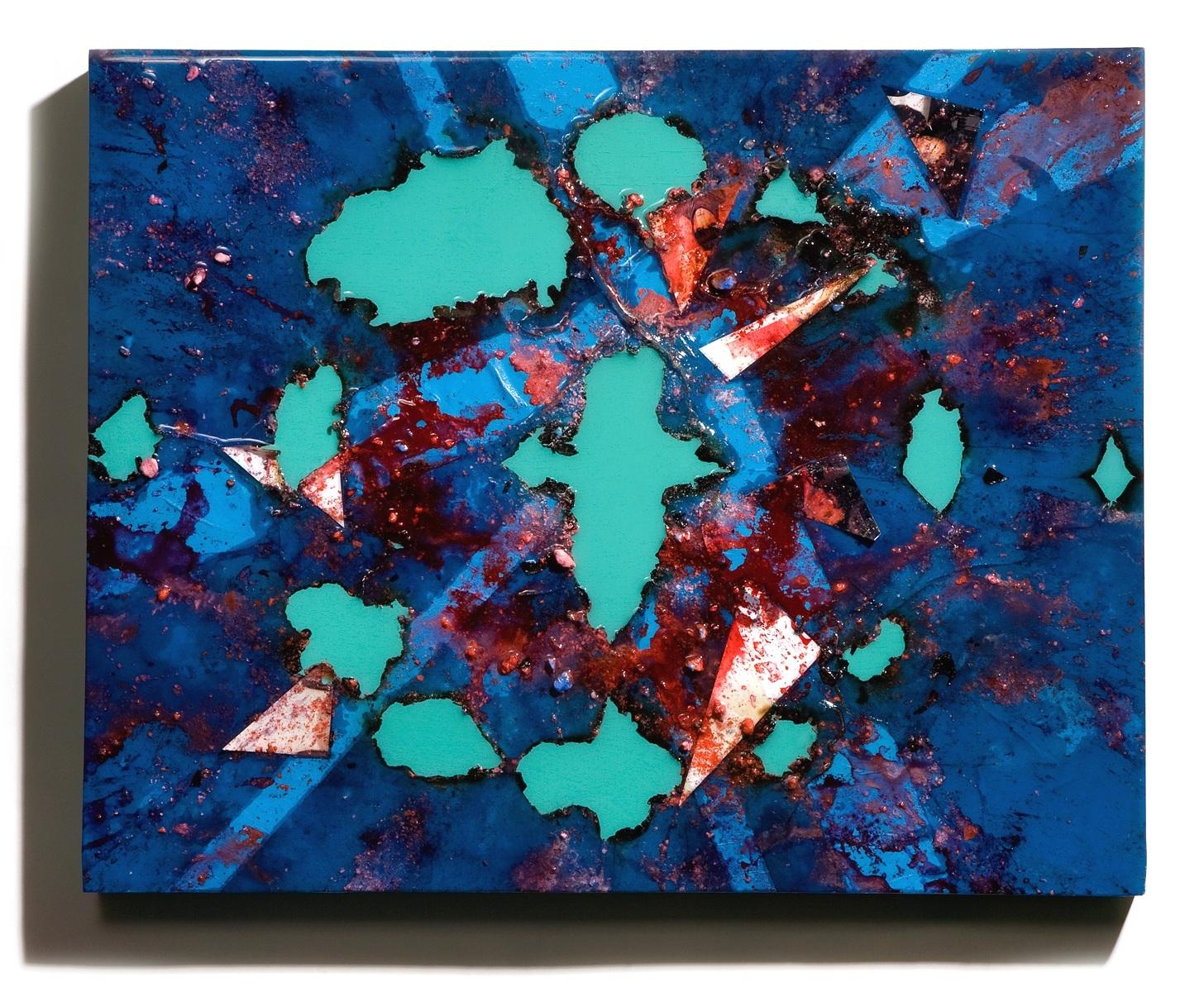 "SERIE I, Untitled (blue/malachite), photographs, photo background paper, chalk, spray paint, packing tape, powder drink, glue, epoxy resin on wood panel, 16""x20""x2"", 2019"