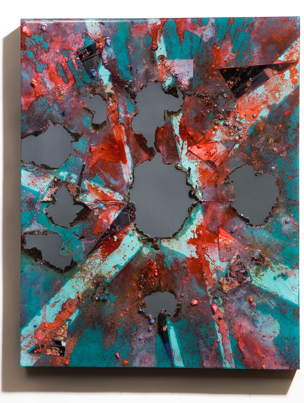 """SERIE I, Untitled (teal/grey), photographs, photo background paper, chalk, spray paint, packing tape, powder drink, glue, epoxy resin on wood panel, 16""""x20""""x2"""", 2019"""