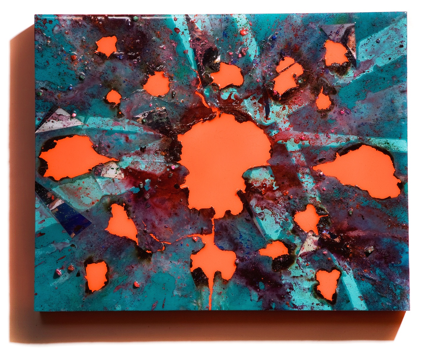 """SERIE I, Untitled (teal/day-glo orange), photographs, photo background paper, chalk, spray paint, packing tape, powder drink, glue, epoxy resin on wood panel, 16""""x20""""x2"""", 2018"""
