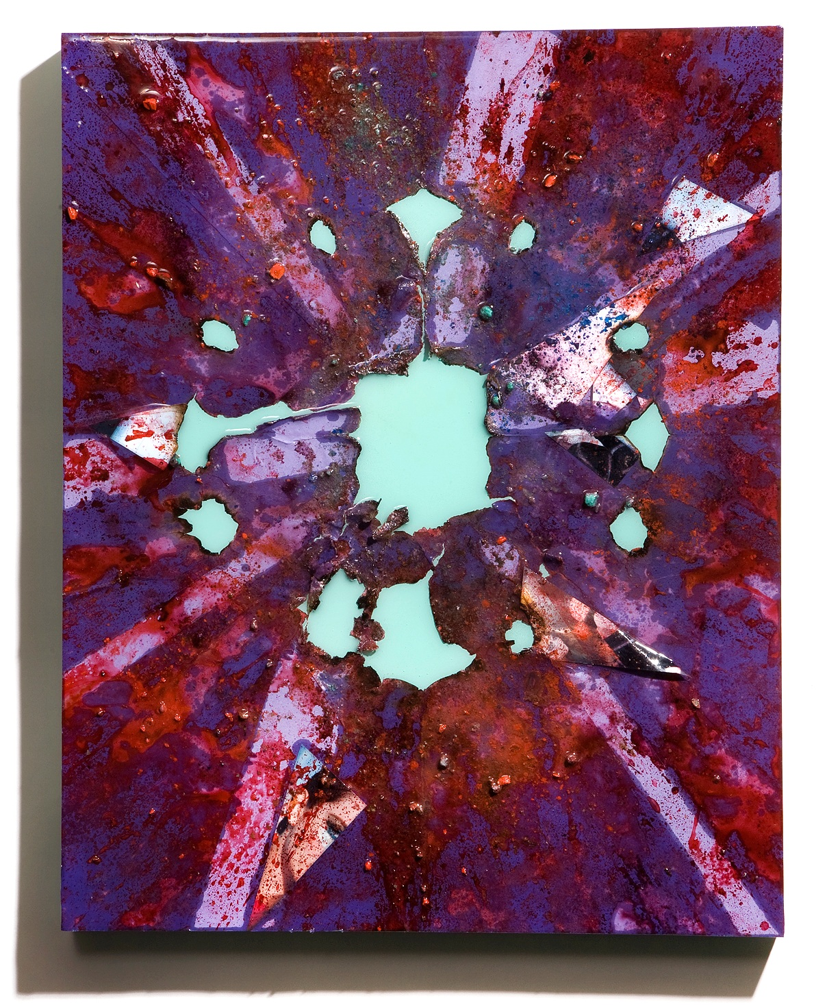 """SERIE I, Untitled (violet/mint), photographs, photo background paper, chalk, spray paint, packing tape, powder drink, glue, epoxy resin on wood panel, 16""""x20""""x2"""", 2019"""