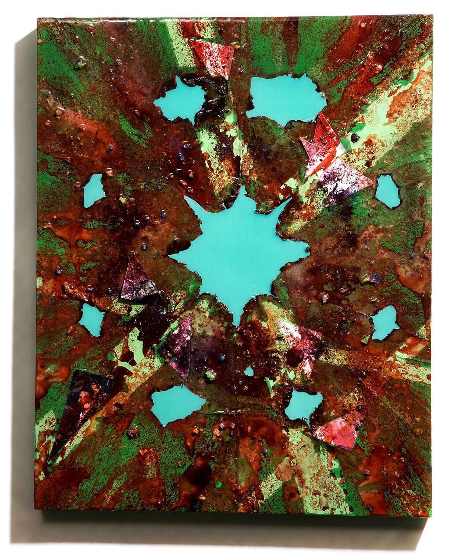 "SERIE I, Untitled (green/malachite), photographs, photo background paper, chalk, spray paint, packing tape, powder drink, glue, epoxy resin on wood panel, 16""x20""x2"", 2019"
