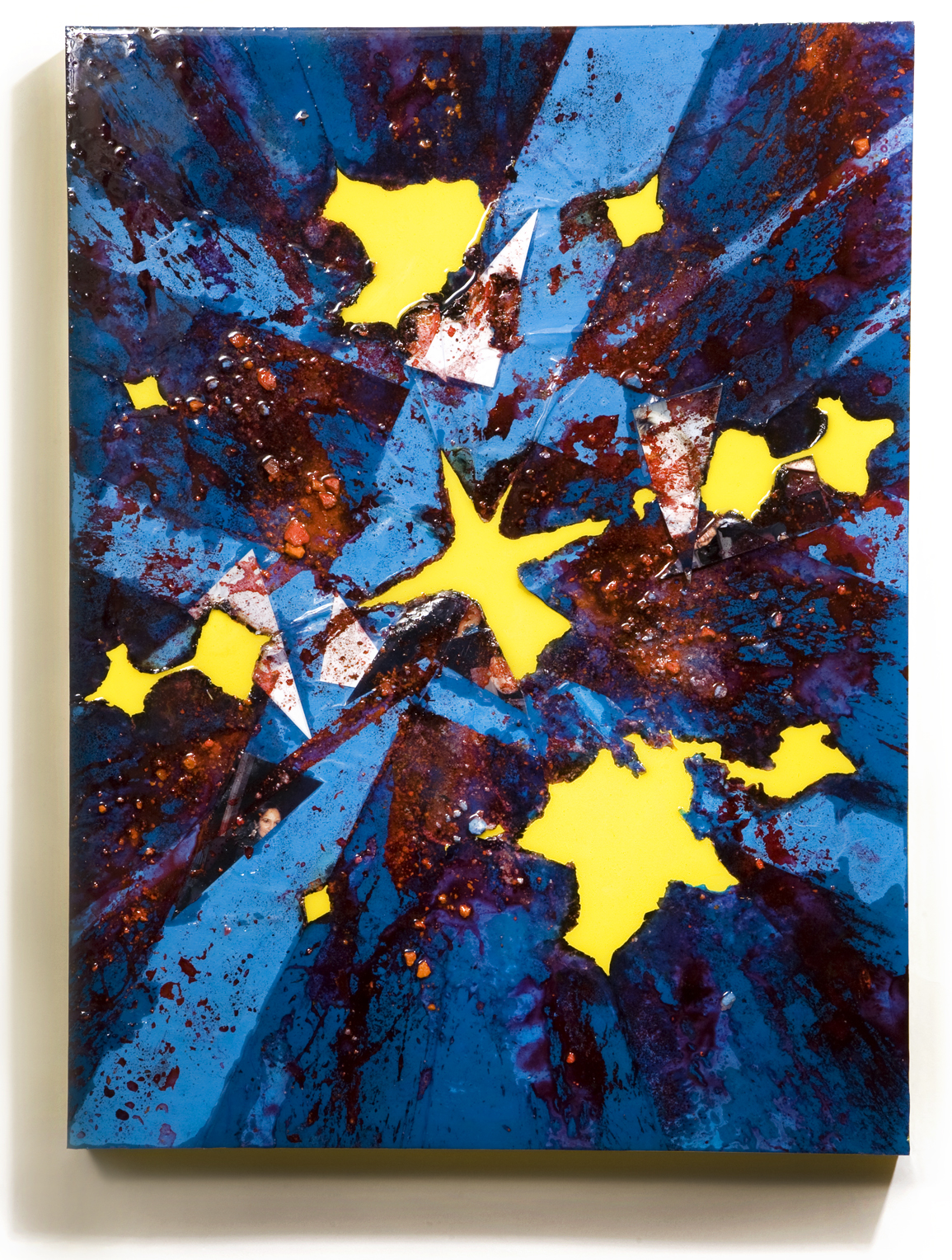 """SERIE I, Untitled (blue/yellow), photographs, photo background paper, chalk, spray paint, packing tape, powder drink, glue, epoxy resin on wood panel, 16""""x20""""x2"""", 2019"""