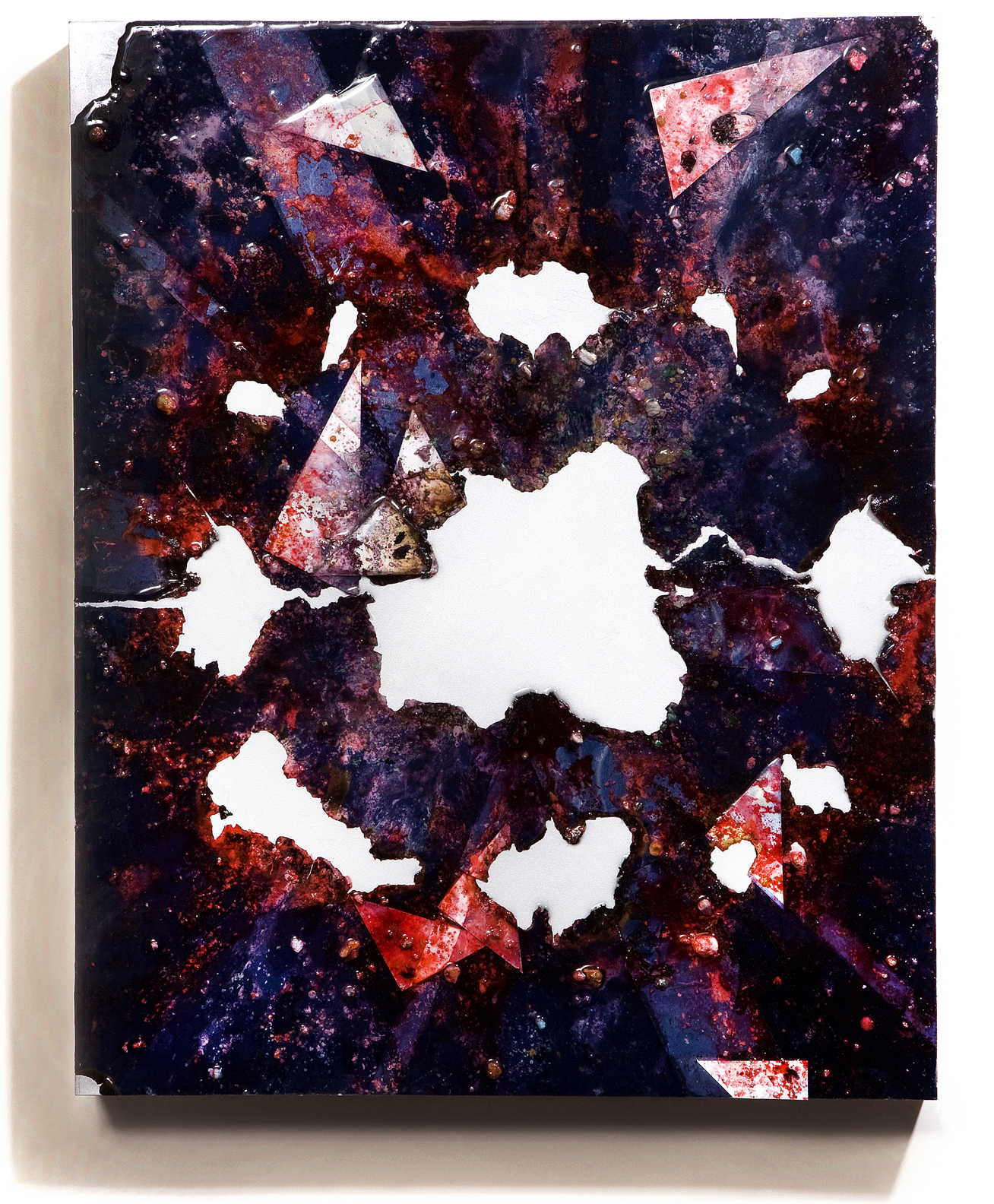 """SERIE I, Untitled (navy/silver), photographs, photo background paper, chalk, spray paint, packing tape, powder drink, glue, epoxy resin on wood panel, 16""""x20""""x2"""", 2018"""
