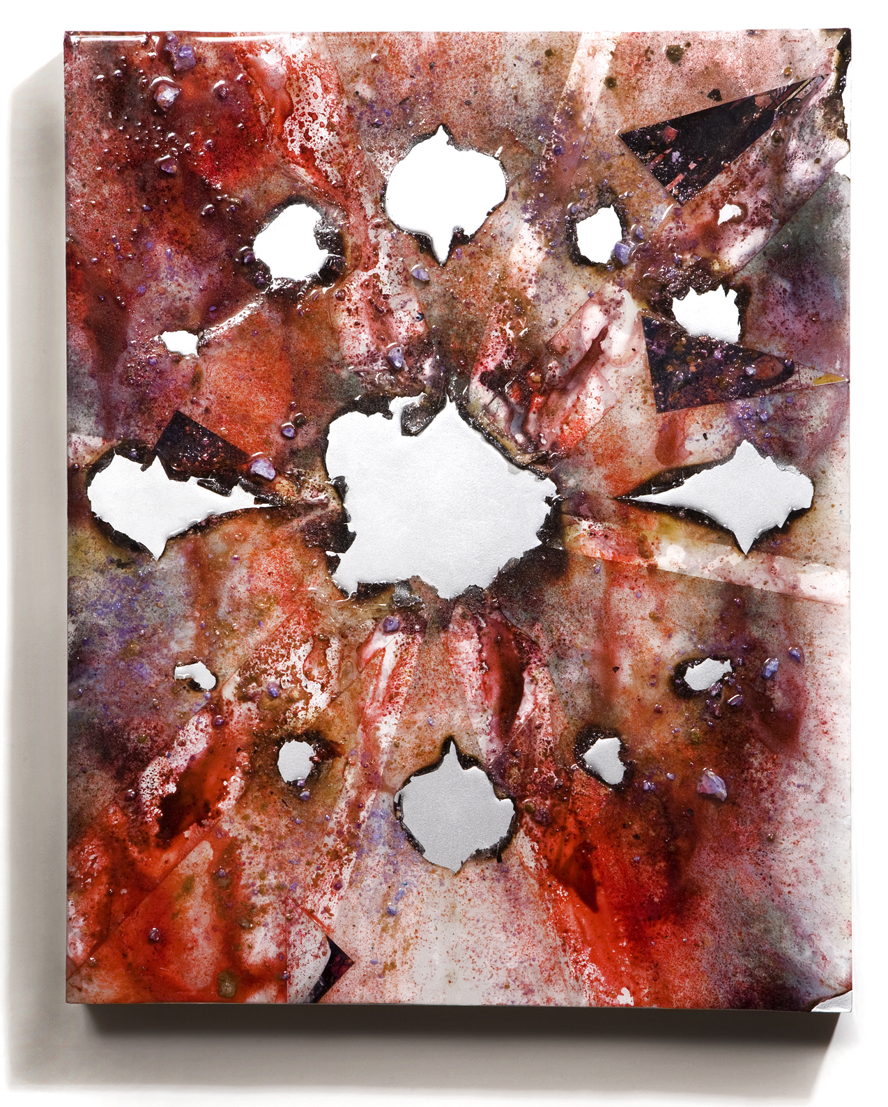 """SERIE I, Untitled (white/silver), photographs, photo background paper, chalk, spray paint, packing tape, powder drink, glue, epoxy resin on wood panel, 16""""x20""""x2"""", 2018"""