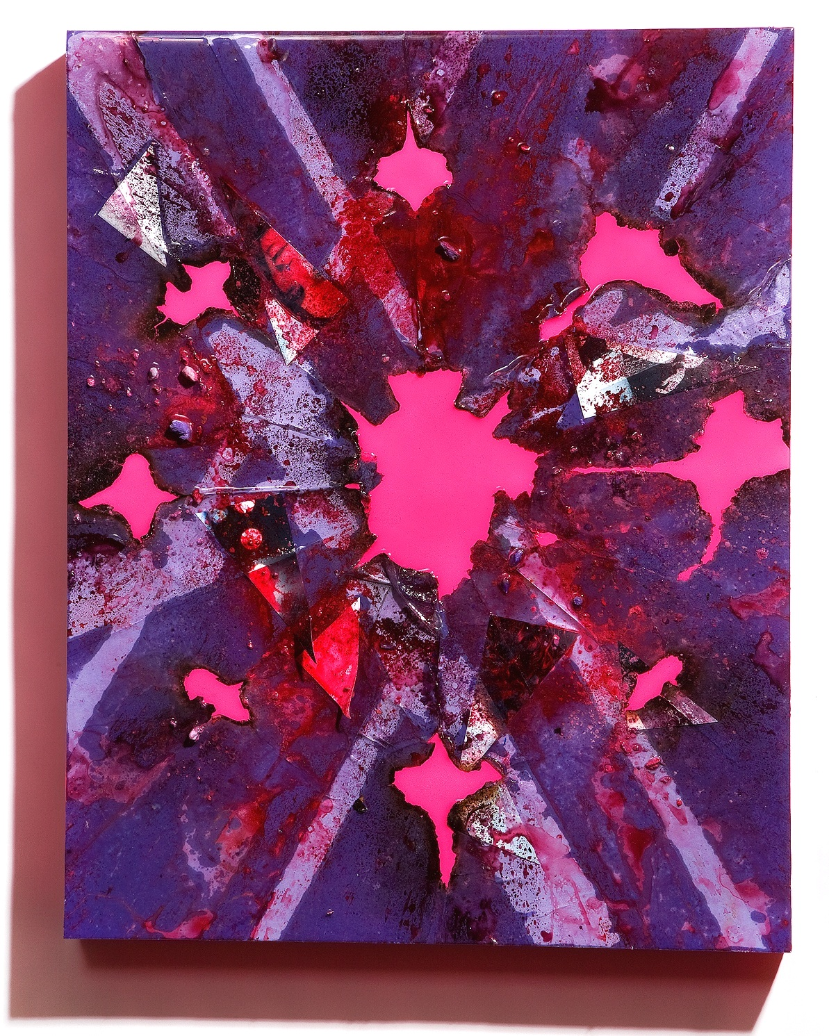 """SERIE I, Untitled (violet/day-glo pink), photographs, photo background paper, chalk, spray paint, packing tape, powder drink, glue, epoxy resin on wood panel, 16""""x20""""x2"""", 2019"""