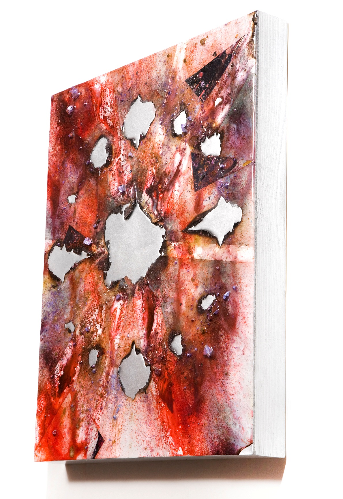 """SERIE I, Untitled SIDE VIEW (white/silver), photographs, photo background paper, chalk, spray paint, packing tape, powder drink, glue, epoxy resin on wood panel, 16""""x20""""x2"""", 2018"""