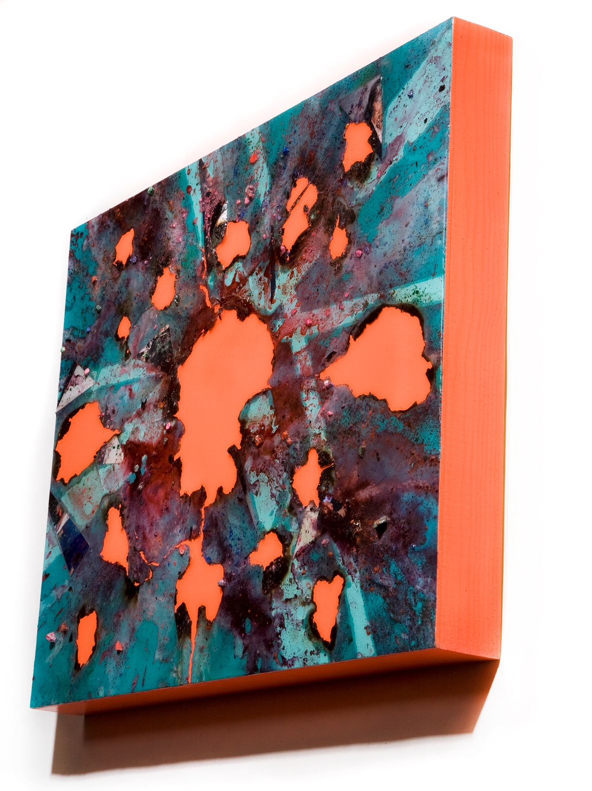 """SERIE I, Untitled SIDE VIEW (teal/day-glo orange), photographs, photo background paper, chalk, spray paint, packing tape, powder drink, glue, epoxy resin on wood panel, 16""""x20""""x2"""", 2018"""