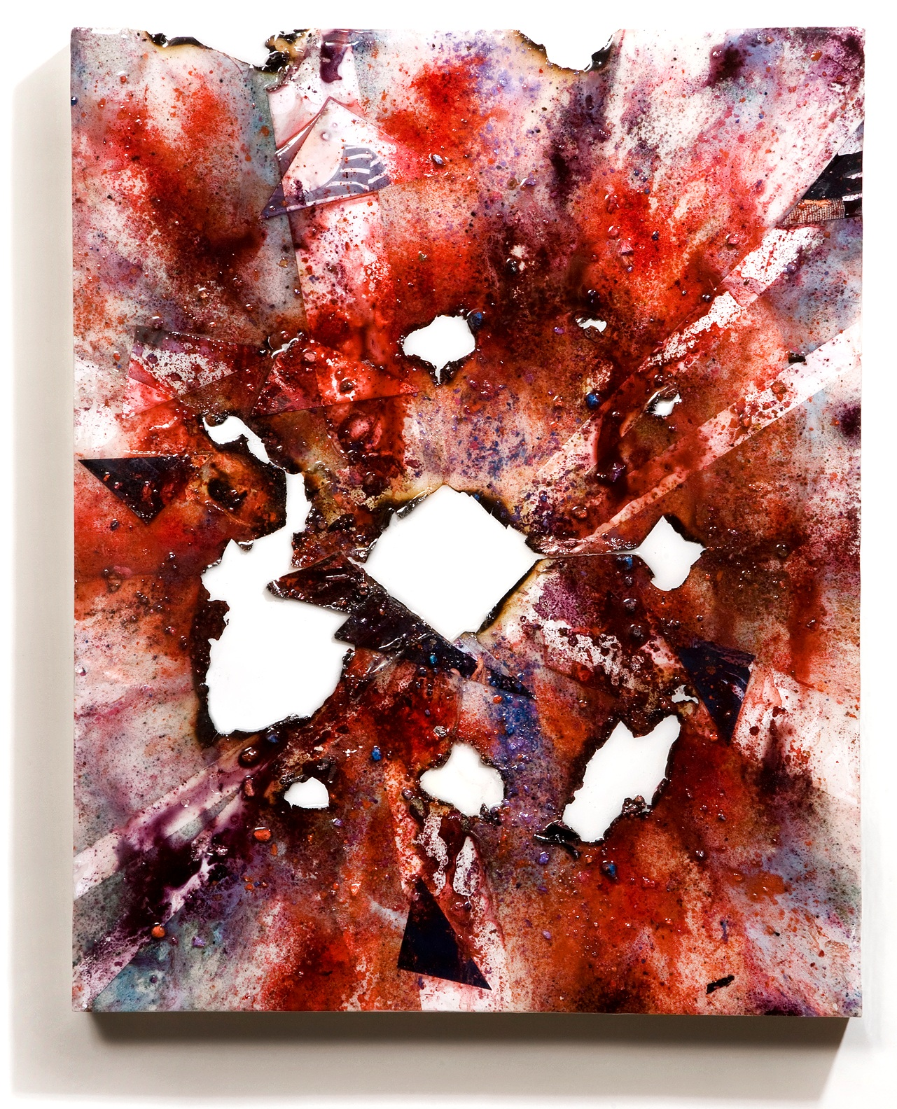"""SERIE I, Untitled (white/white), photographs, photo background paper, chalk, spray paint, packing tape, powder drink, glue, epoxy resin on wood panel, 16""""x20""""x2"""", 2018"""