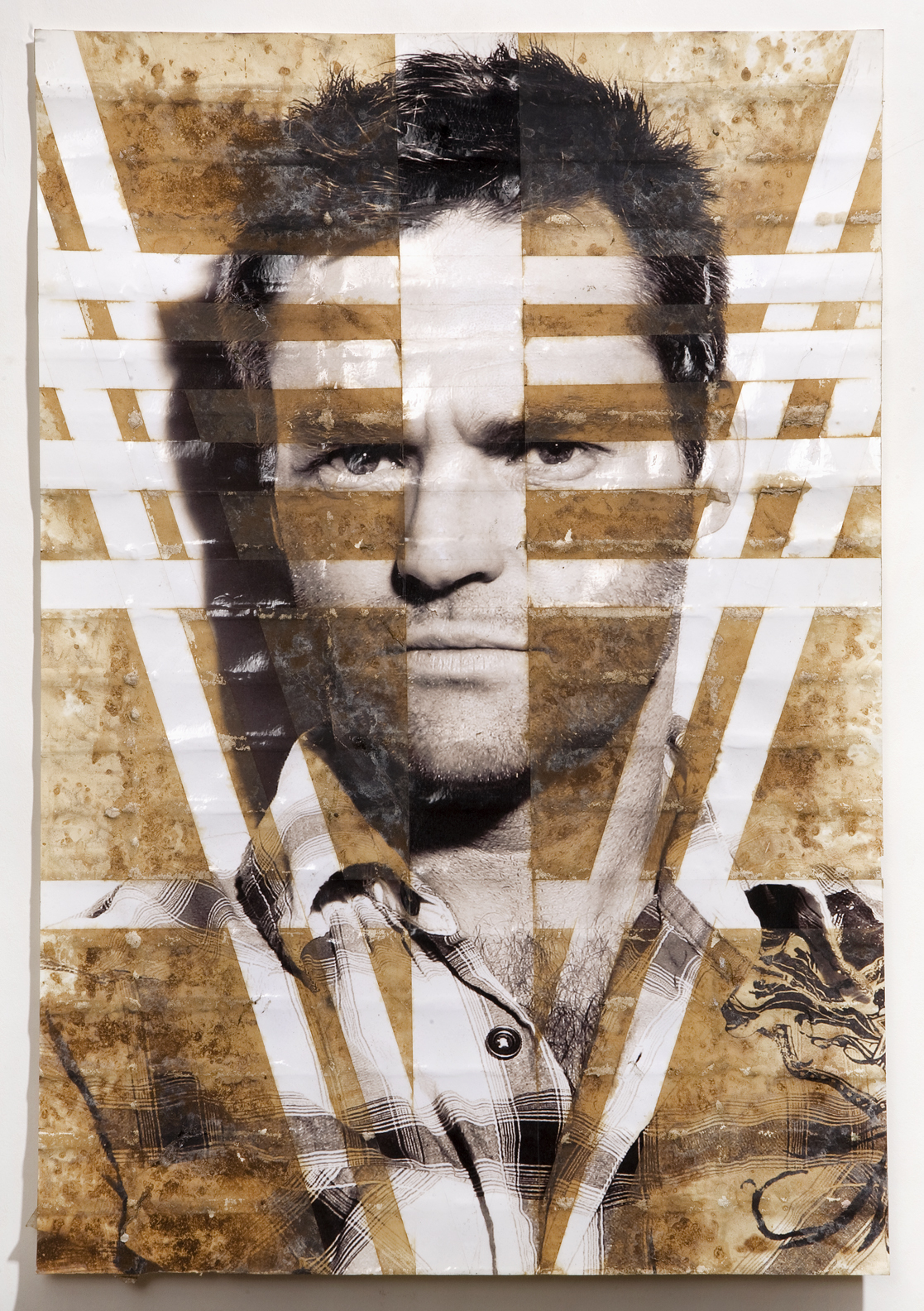 "Self Portrait (Martin Sobey), inkjet print, packing tape, coffee, coffee grounds, milk, 13""x19"", 2010"