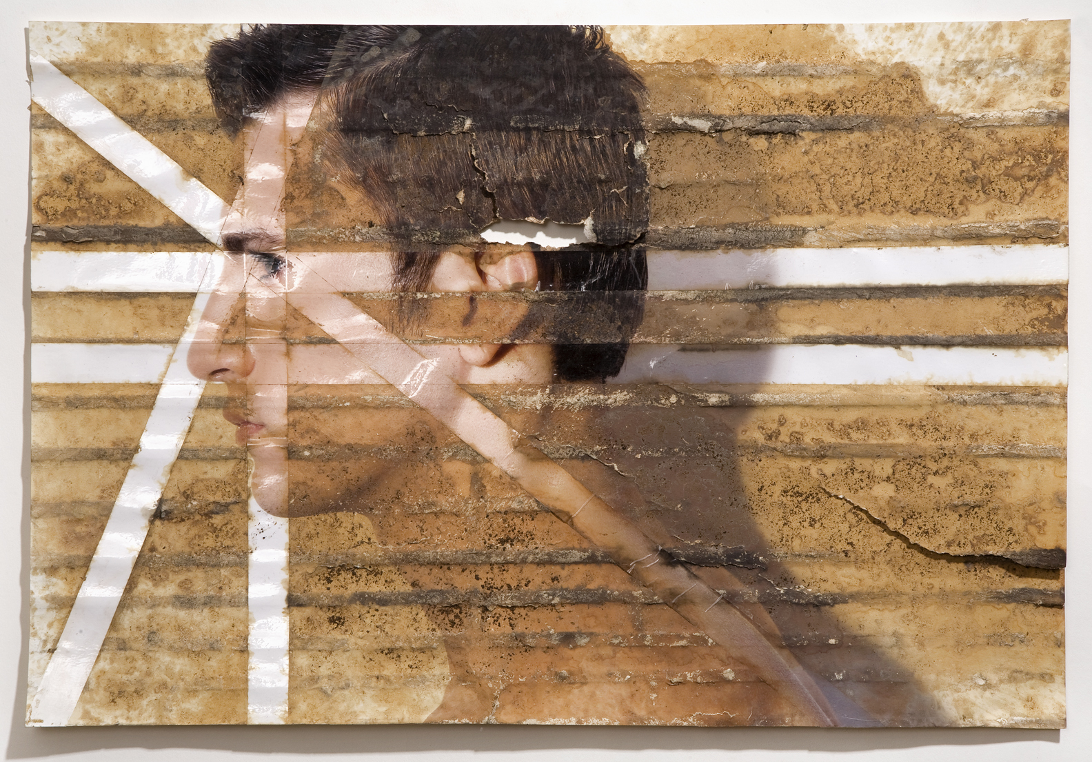 "Untitled, inkjet print, packing tape, coffee, coffee grounds, milk, 13""x19"", 2010"