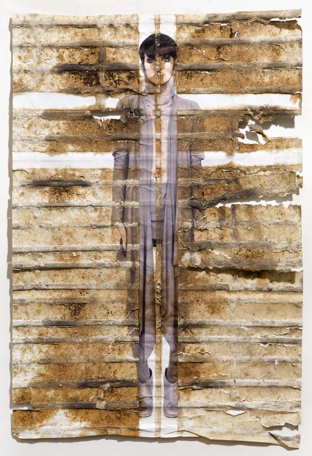 "Meagan Black, inkjet print, packing tape, coffee, coffee grounds, milk, 13""x19"", 2010"