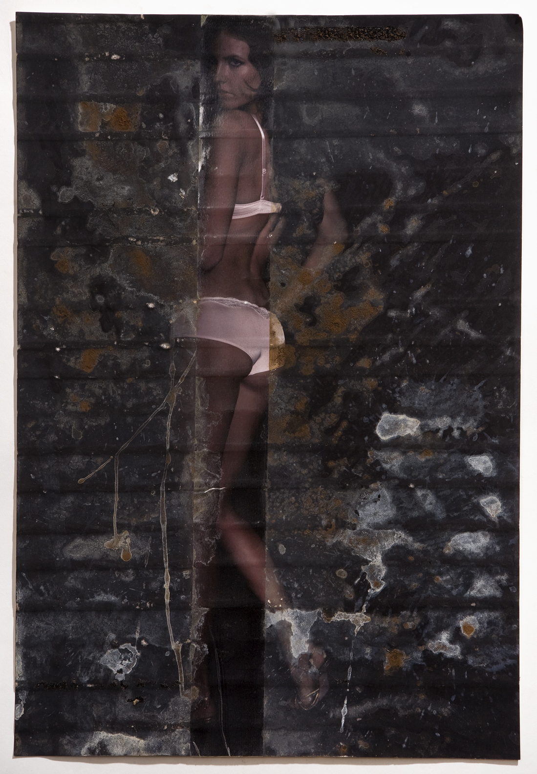 "Marina, inkjet print, packing tape, coffee, coffee grounds, milk, 13""x19"", 2010"