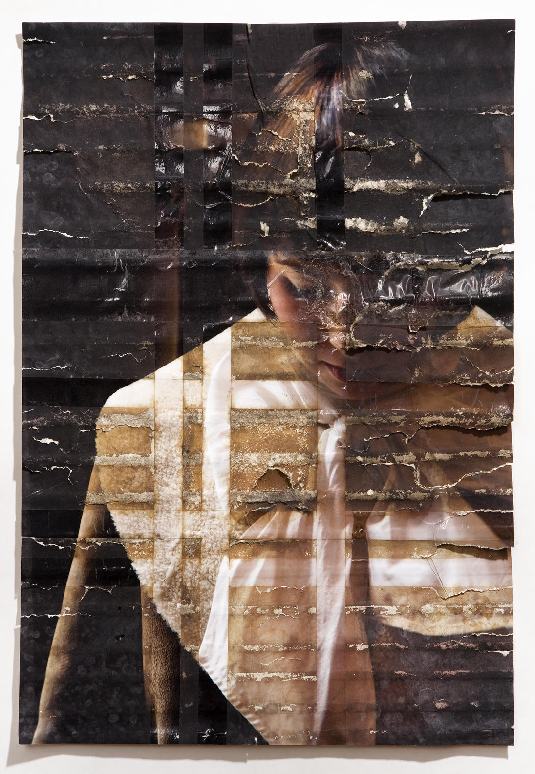 "Mara Capps, inkjet print, packing tape, coffee, coffee grounds, milk, 13""x19"", 2010"
