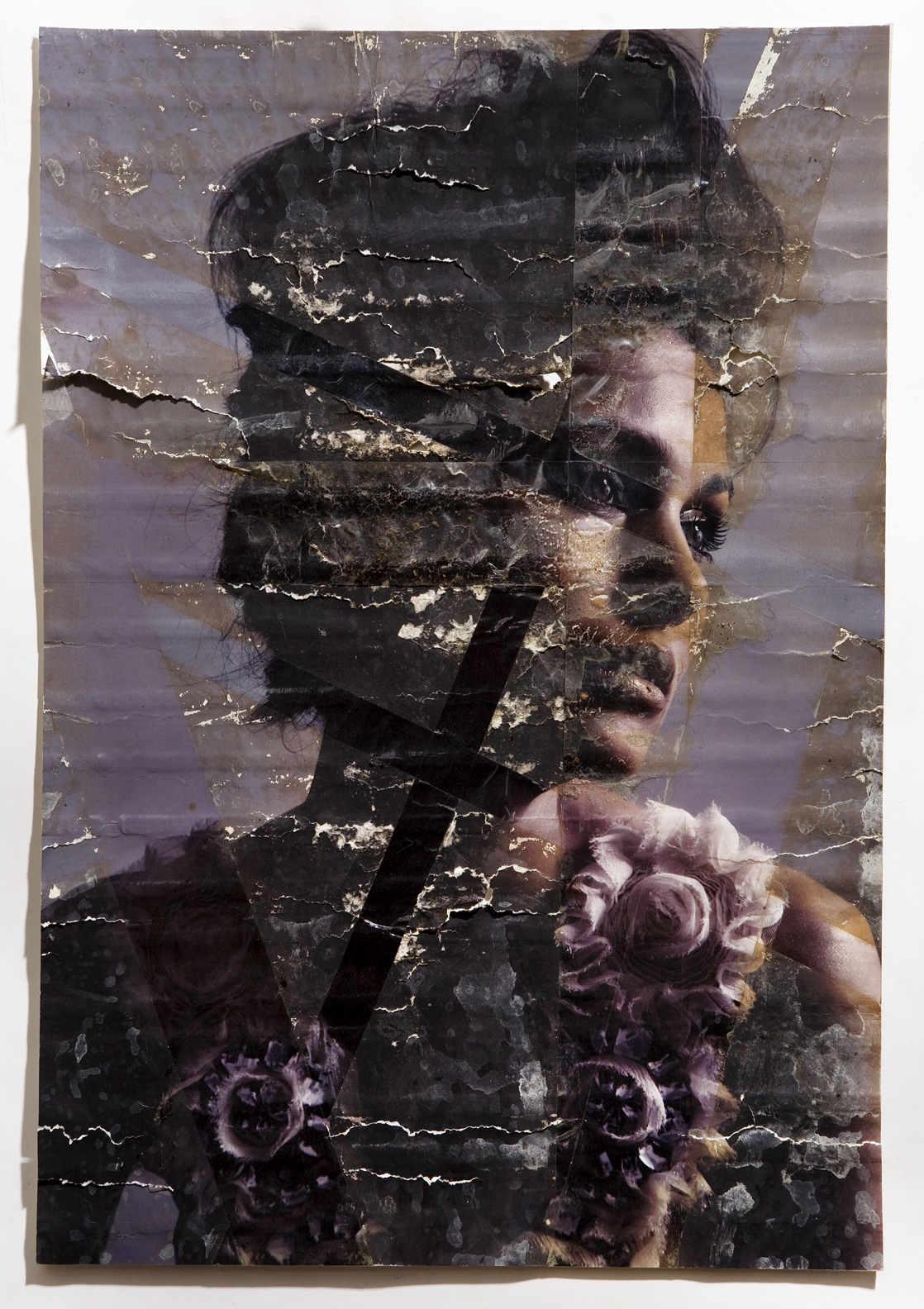 "Zita, inkjet print, packing tape, coffee, coffee grounds, milk, 13""x19"", 2010"