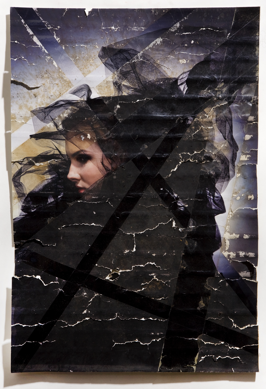 "Olga, inkjet print, packing tape, coffee, coffee grounds, milk, 13""x19"", 2010"