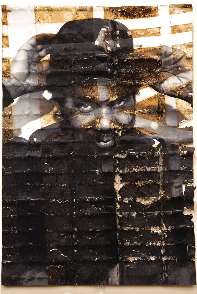 "Randy Smith,  inkjet print, packing tape, coffee, coffee grounds, milk, 13""x19"", 2010"