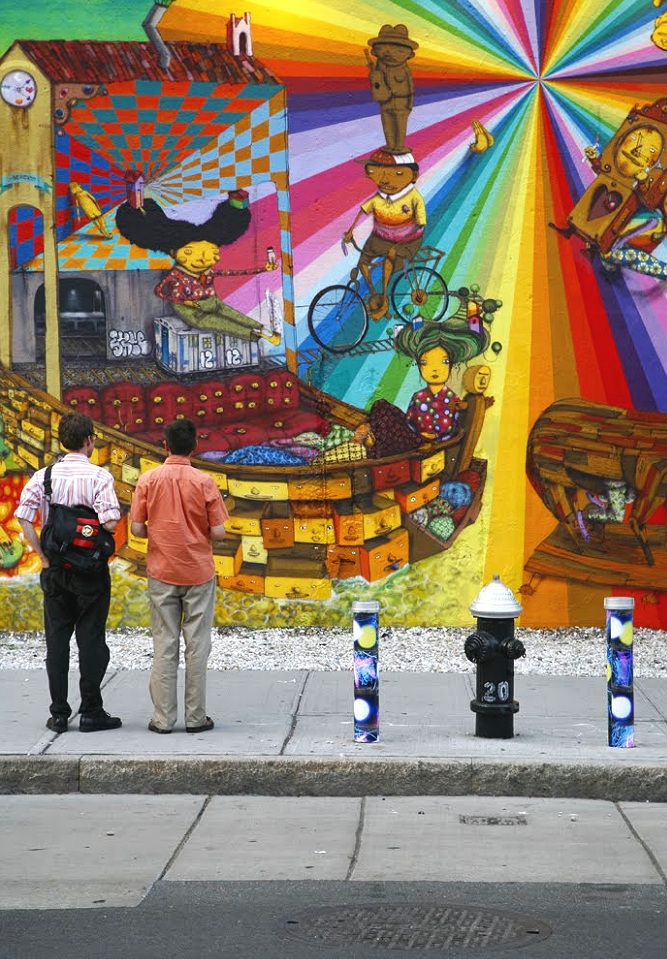 Houston Street (bowery mural by artists Os Gemeos), NoHo, Manhattan, inkjet photographs, 2009