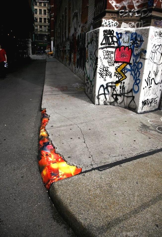 Corner of Jersey & Mulberry Streets, SoHo, Manhattan, inkjet photographs, tape, 2009