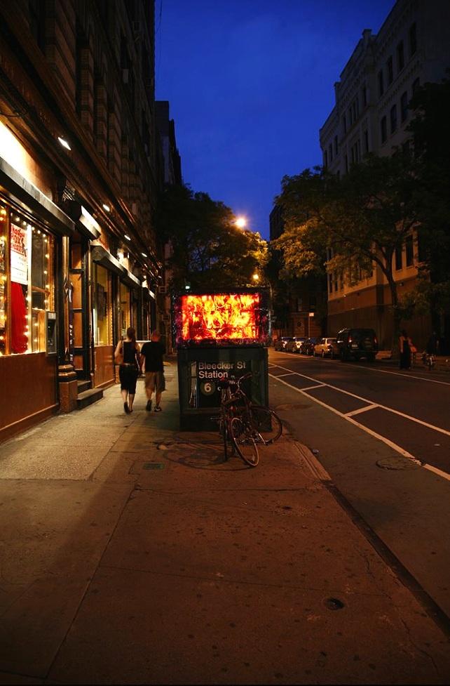 Bleeker Street (subway entrance video monitor), NoHo, Manhattan, inkjet transparency prints, 2010