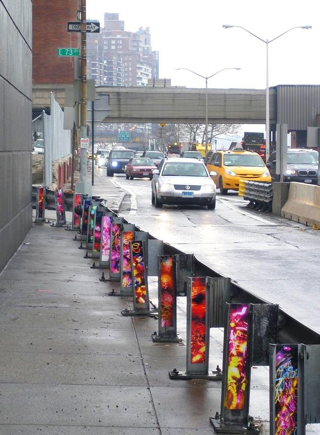 The FDR @ 73rd Street (I-beam barrier), UES, Manhattan, inkjet photographs, 2009