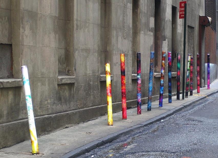 Marketfield Place (group of poles), Financial District, Manhattan, inkjet photographs, 2007