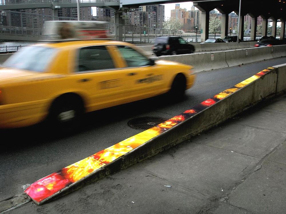 The FDR @ 71st Street (cement barrier), UES, Manhattan, inkjet photographs, 2010