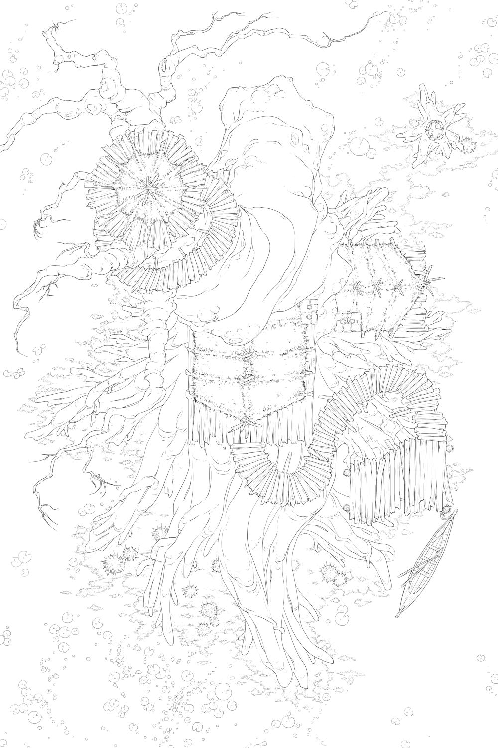 Finished Linework for the Exterior of the Hags's Tree