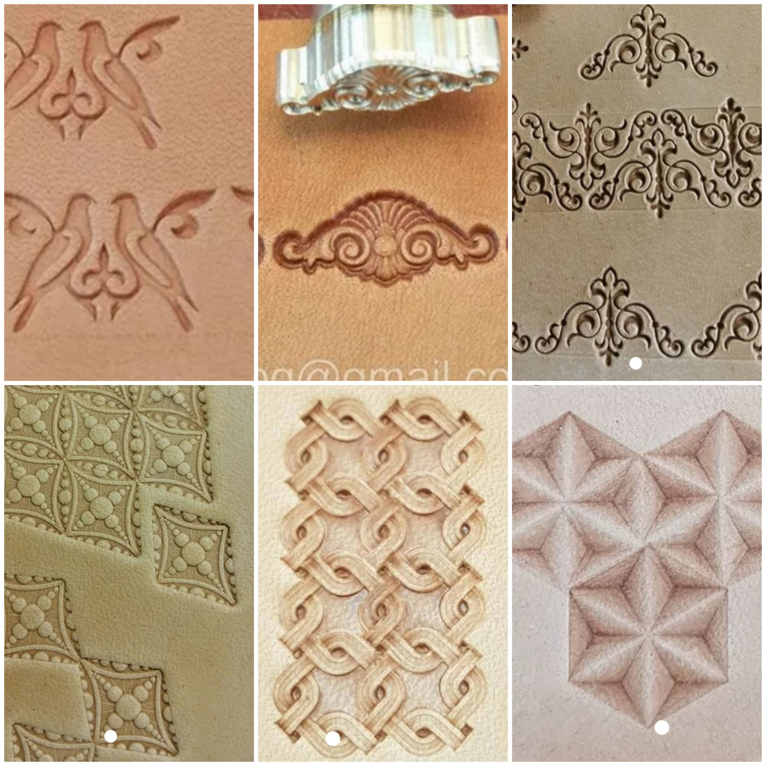 Stamp Batch 1 - Please quote batch number with stamp number1. Love Birds2. Shell Scroll3. Triangle Scrolls4. Bubble Diamonds5. Intertwined Squares6.Convex Stars