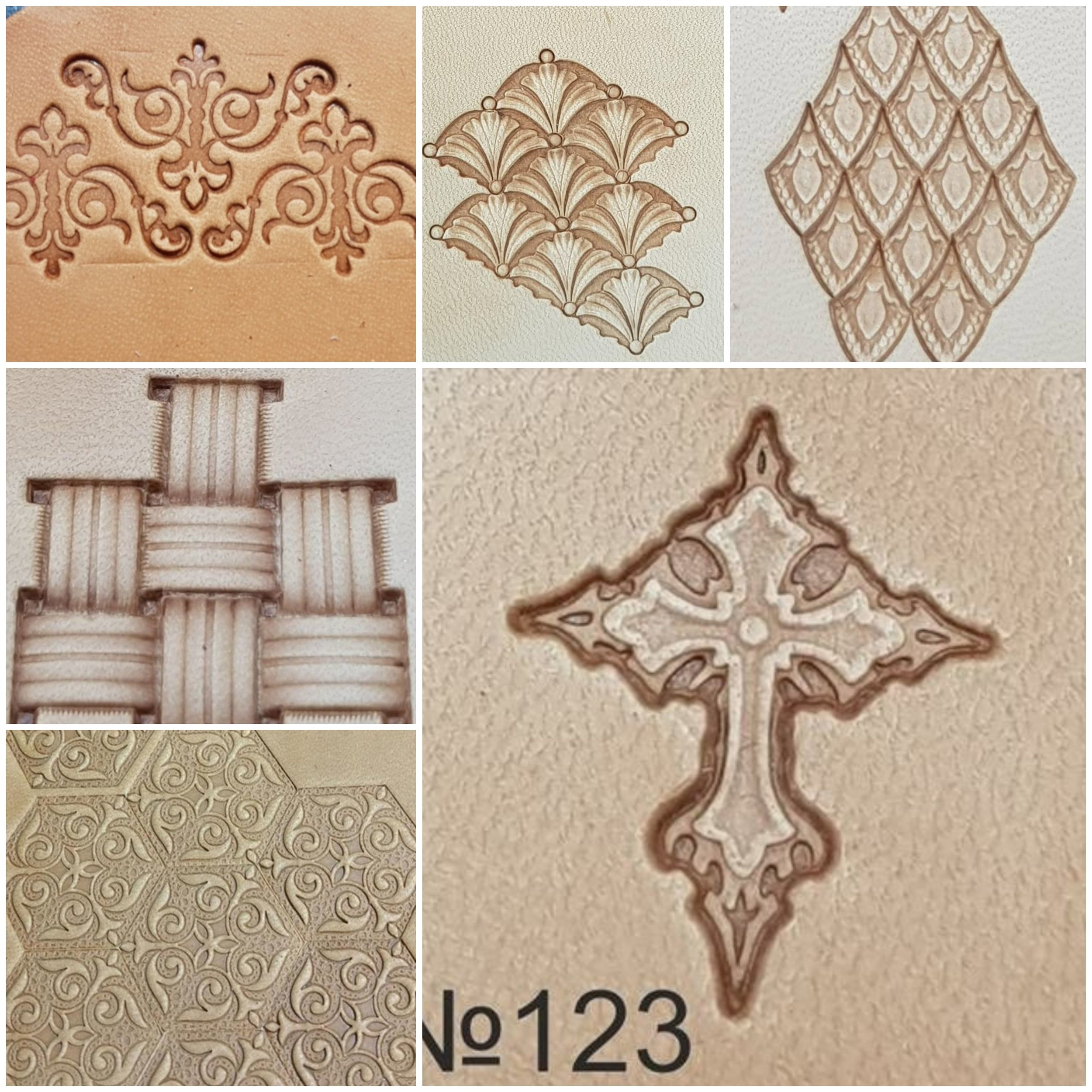 Stamp Batch 4 - Please quote batch number with stamp number1. Triangle Scrolls (duplicate in batch 1)2. Tidal Waves3. Dragon Scales4. Basket Weave5. Polygon Scroll6. Decorative Cross