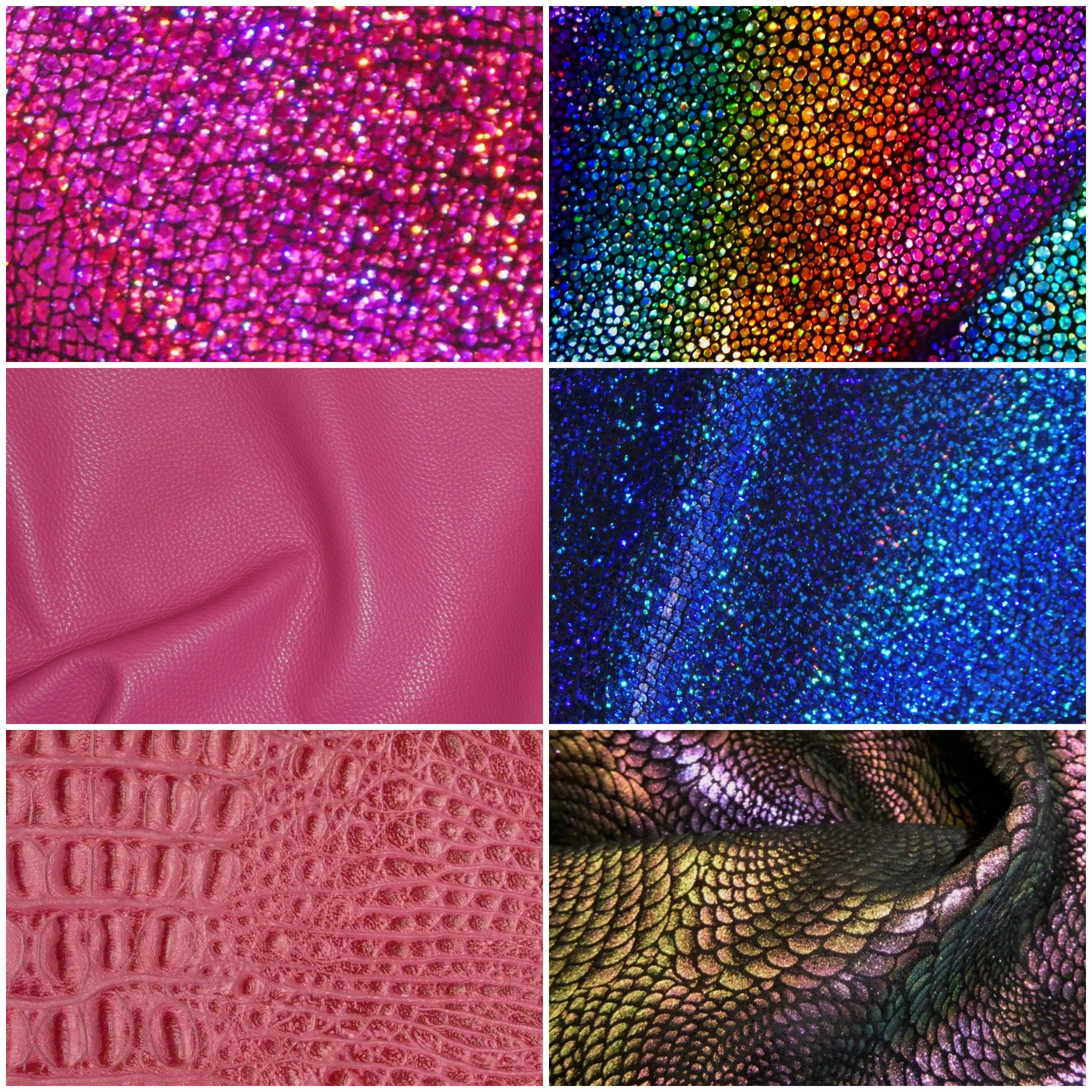 """Leather BAtch 1: - These are 12""""x12"""" leather pieces and great for any project! We are currently out of stock of the bottom left dragon pattern."""