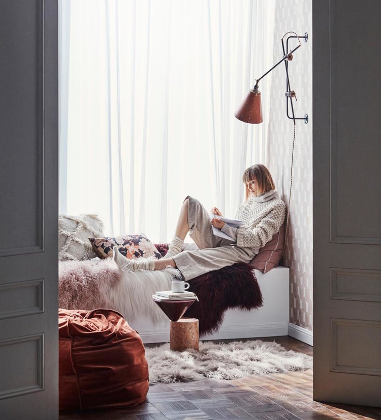 Editorial Stylist Kerrie-Ann Jones Interior Styling Sydney & Melbourne.  Real Living Magazine,  Feminine Styling.  Winter Bedroom, Pink, Burgandy, Cosy Bedroom with painted wall mural.  #bedroominspiration #bedroomstyling #pinkbedroom