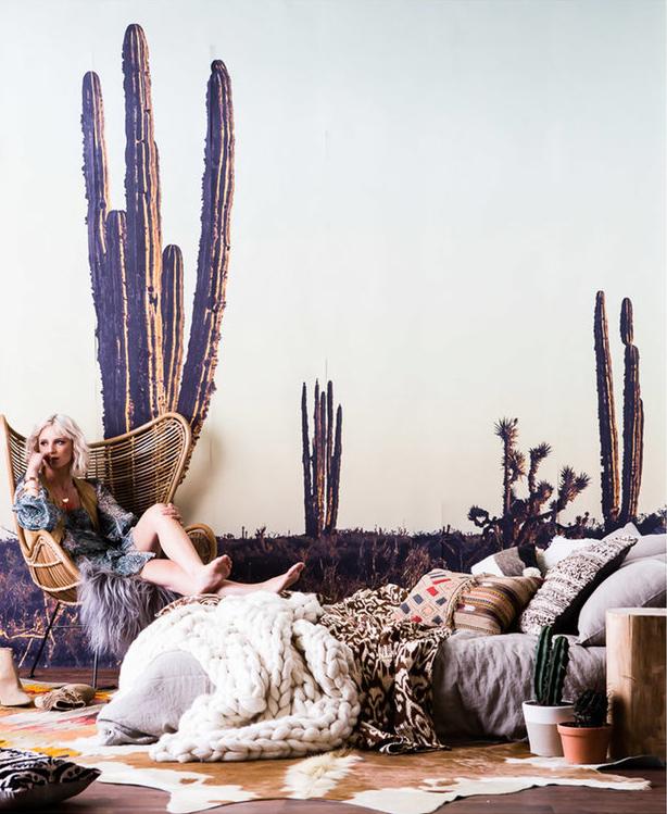 Editorial Stylist Kerrie-Ann Jones Interior Styling Sydney & Melbourne.  Real Living Magazine, Interior Styling.  Cactus wallpaper, boho bedroom, bed on floor, bedroom styling. #cactuswallpaper #bohobedroom #bedroominspiration